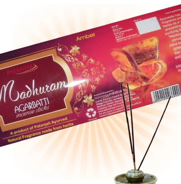 Patanjali Madhuram Agarbatti Amber Incense Sticks Pack 25 gm