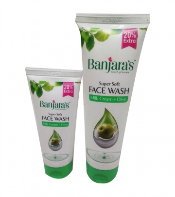 Banjaras Face washMilk cream and Olive 120g